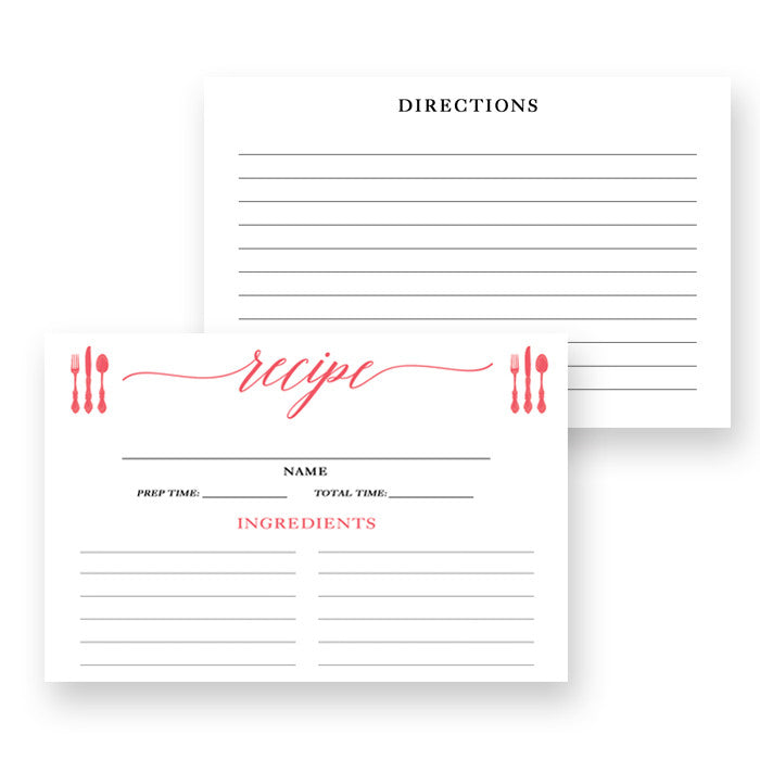 Coral Calligraphy Recipe Cards Gift Set |  Molly