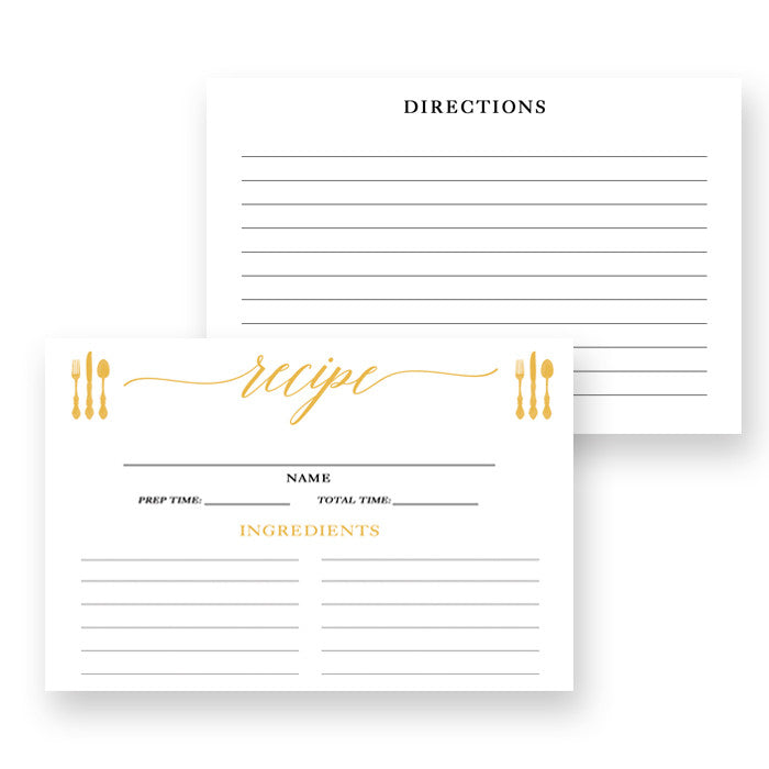 Gold Calligraphy Recipe Cards Gift Set |  Molly