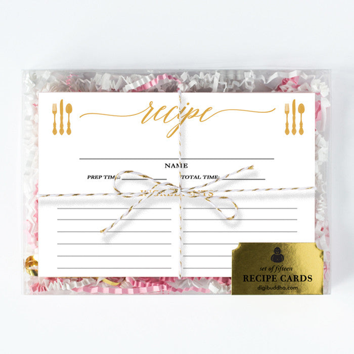 Yellow Gold Calligraphy Recipe Cards Gift Set |  Molly