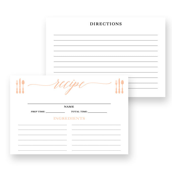 Peach Calligraphy Recipe Cards Gift Set |  Molly