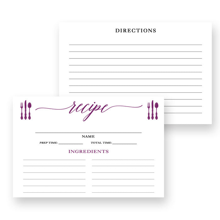 Plum Calligraphy Recipe Cards Gift Set |  Molly