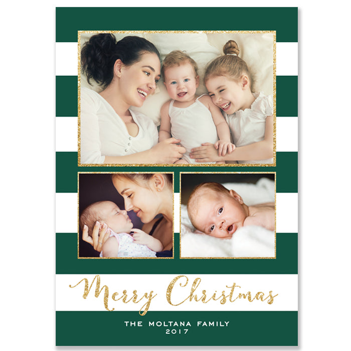 Green and White Photo Holiday Card | Moltana