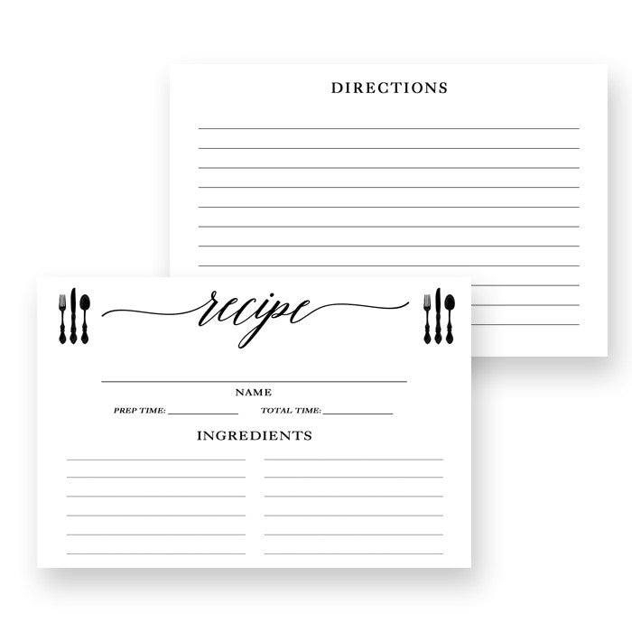 Black Calligraphy Recipe Cards Gift Set |  Molly