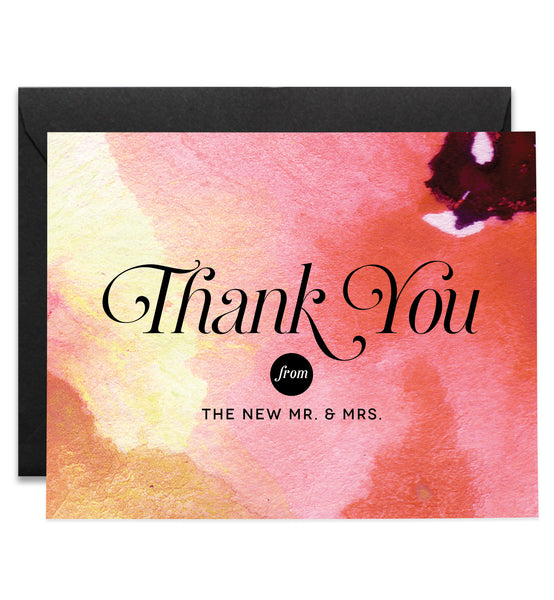 Newlywed Thank You Cards Abstract Floral Watercolor