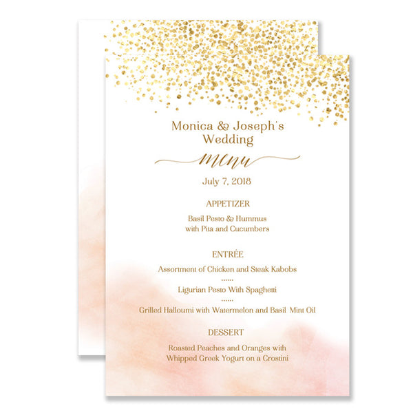"""Monica"" Blush Wedding Menu"