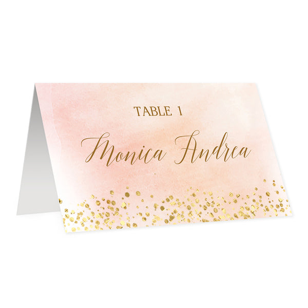 Blush Pink Place Cards in Watercolor + Gold | Monica
