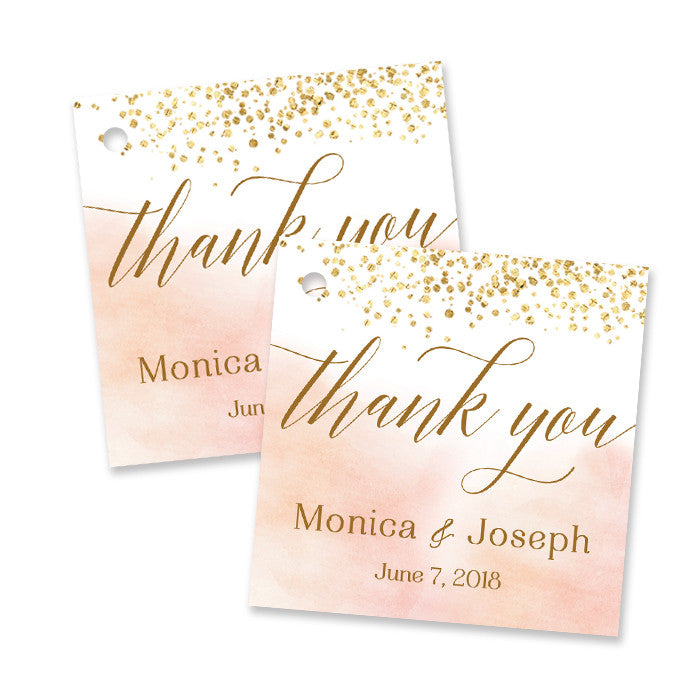 """Monica"" Blush Wedding Favor Tags"