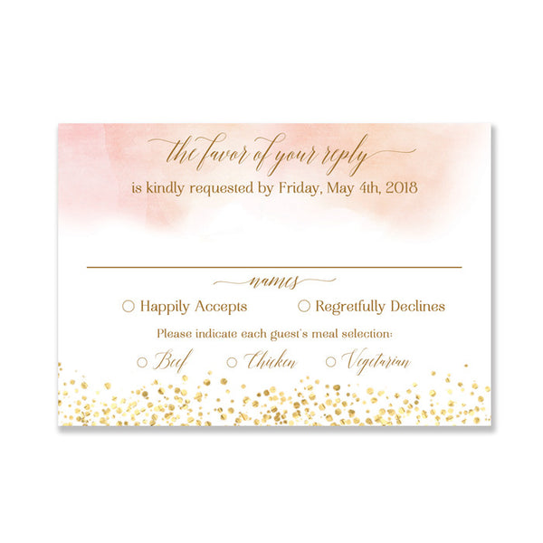 """Monica"" Blush RSVP Card"