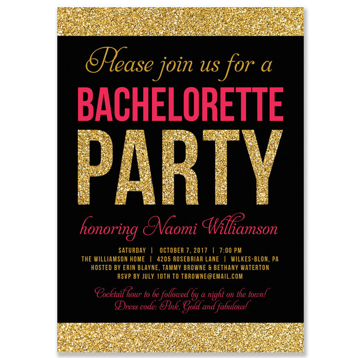 naomi bachelorette party invitation pink gold glitter digibuddha