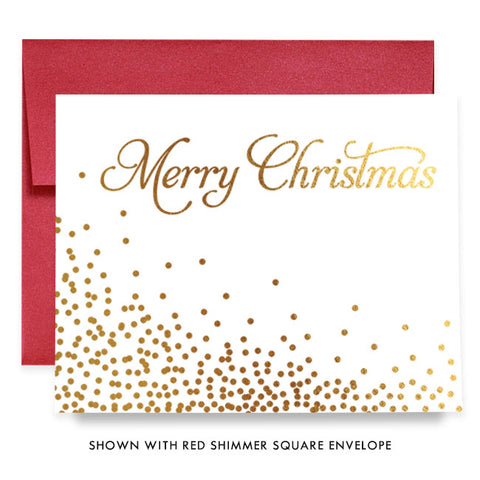 Merry Christmas Confetti Gold Foil Boxed Holiday Cards | Notten