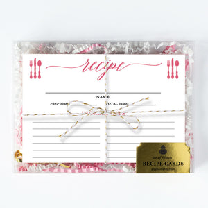 Peony Pink Calligraphy Recipe Cards Gift Set |  Molly