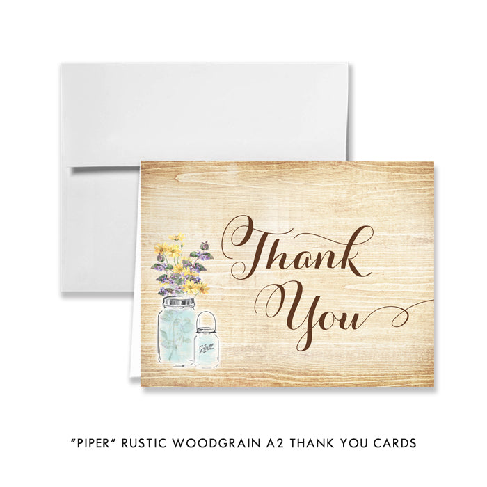 Vintage Mason Jar Wildflowers Thank You Cards