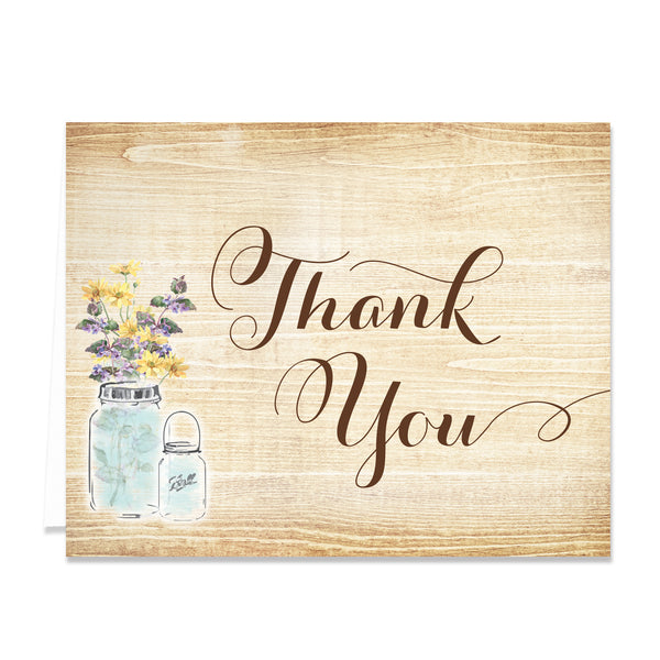 Rustic Wood Grain Thank You Cards