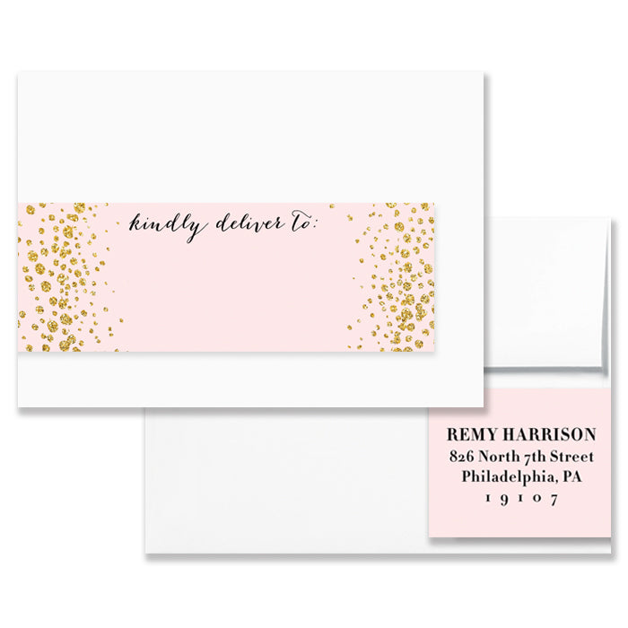 """Remy"" Blush + Gold Envelope Wrap Address Labels"