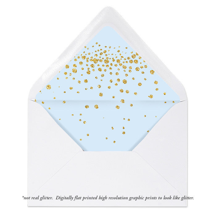 """Remy"" Blue + Gold Glitter Envelope Liners"