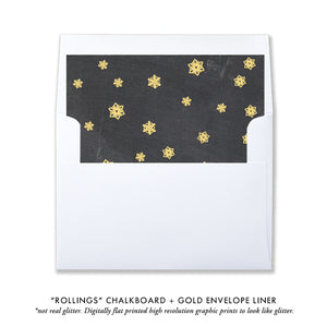 Chalkboard and Gold Photo Holiday Card | Rollings
