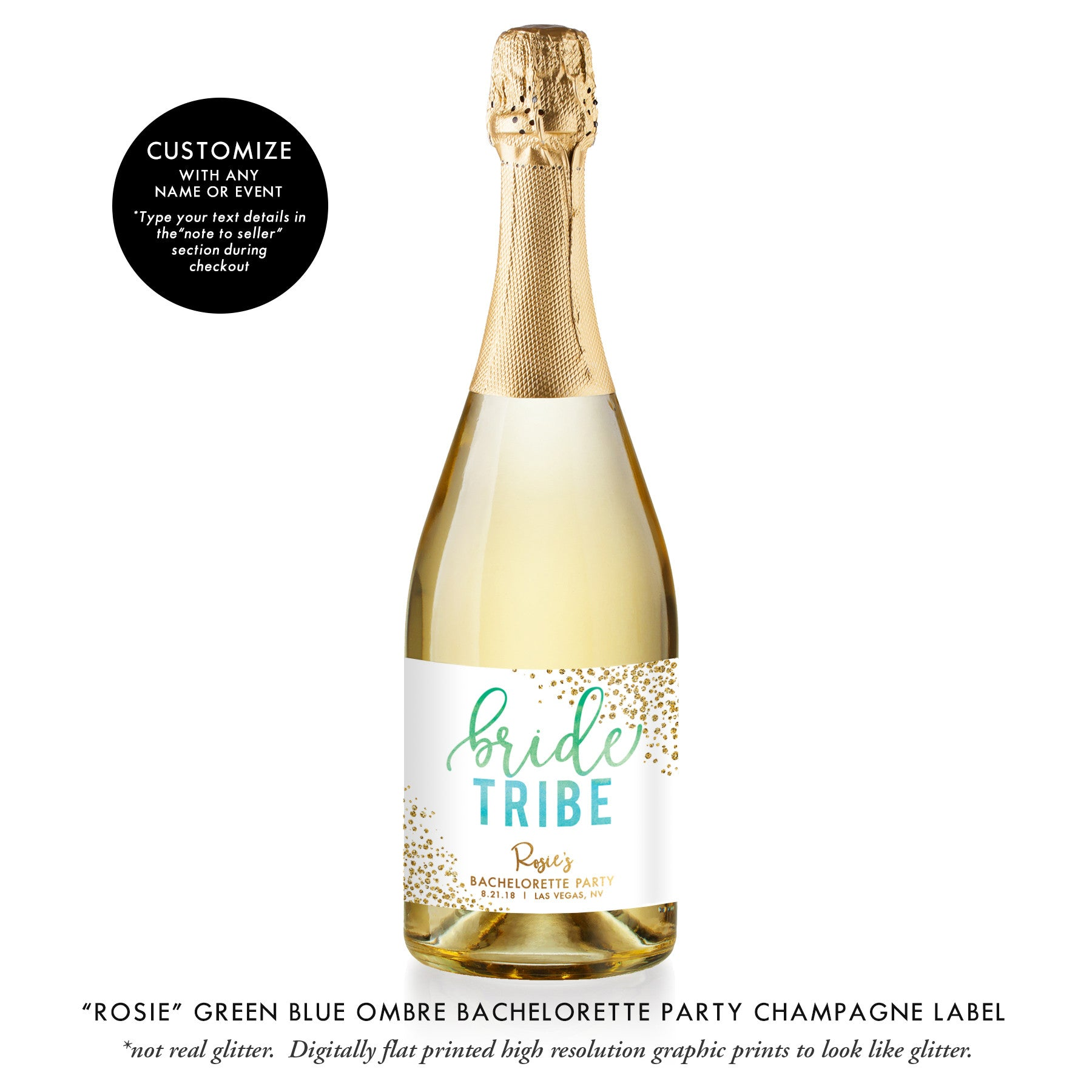 """Rosie"" Green Blue Ombre Bachelorette Party Champagne Labels"