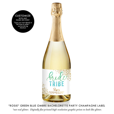 """Rosie"" Green Blue Ombre Bride Tribe Bachelorette Party Champagne Labels"