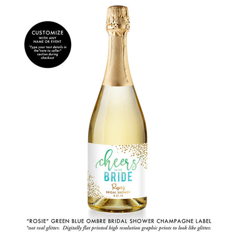 """Rosie"" Green Blue Ombre Bridal Shower Champagne Labels"