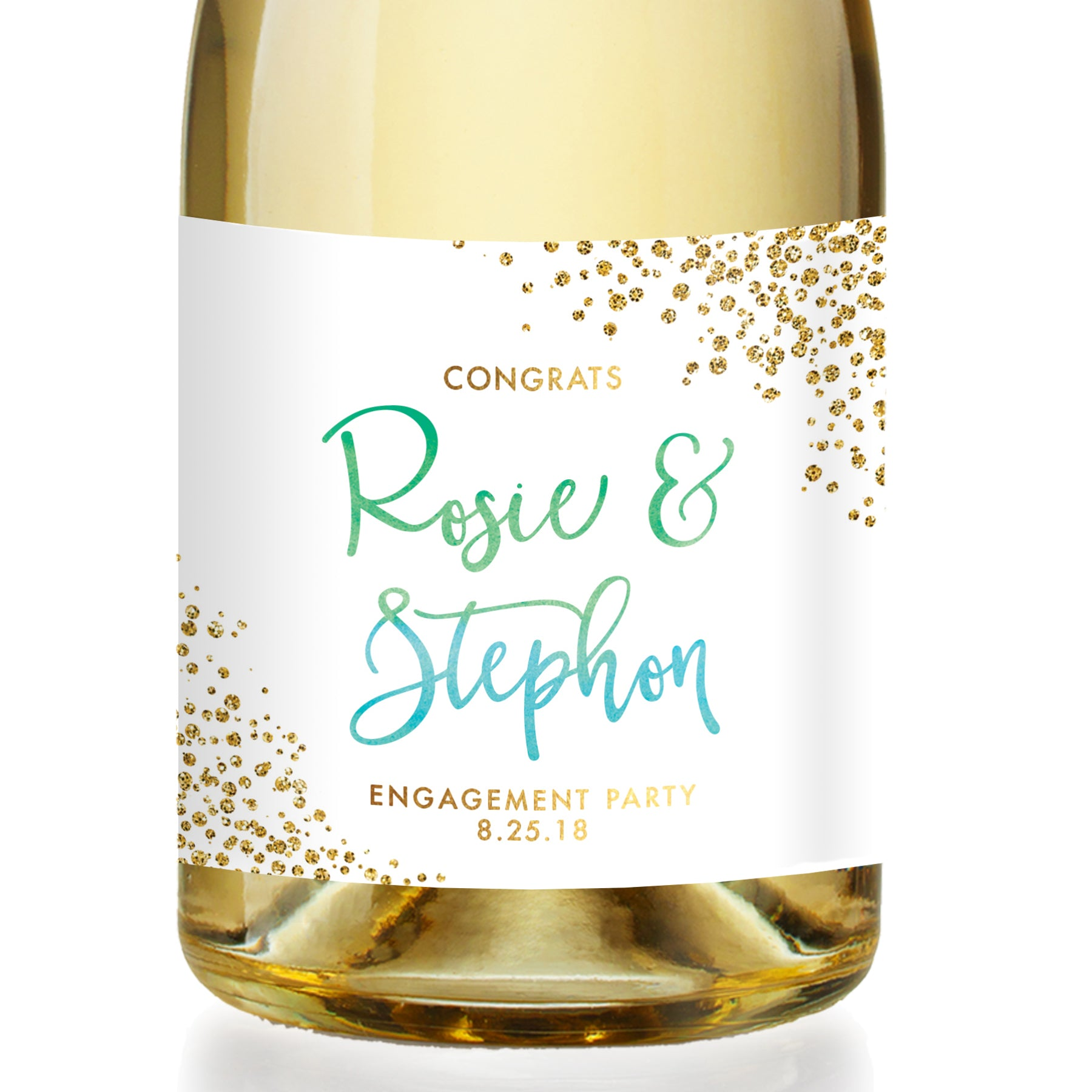 """Rosie"" Green Blue Ombre Engagement Champagne Labels"