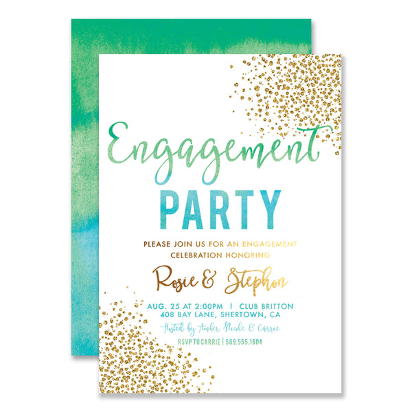 """Rosie"" Green Blue Ombre Engagement Party Invitation"