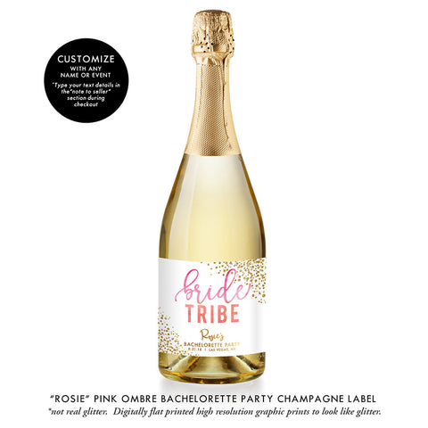 """Rosie"" Pink Ombre Bride Tribe Bachelorette Party Champagne Labels"