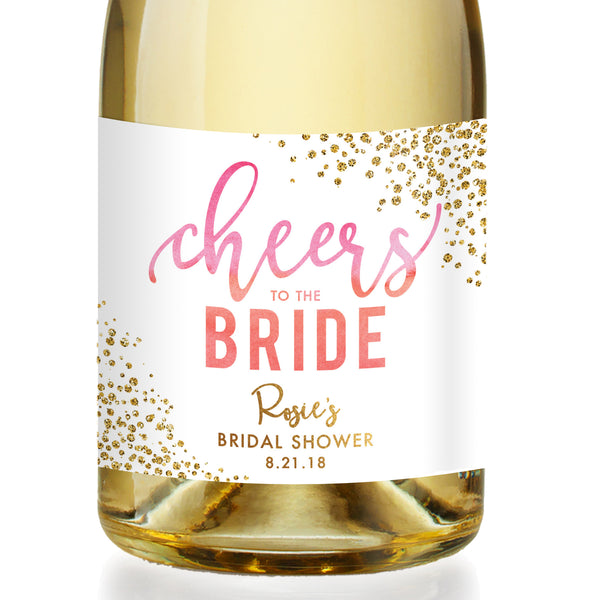 """Rosie"" Pink Ombre Bridal Shower Champagne Labels"