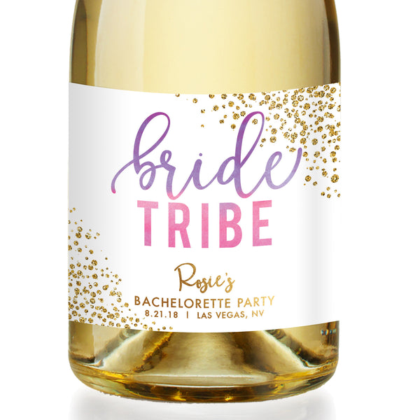 """Rosie"" Purple Pink Ombre Bride Tribe Bachelorette Party Champagne Labels"