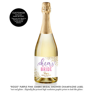 """Rosie"" Purple Pink Ombre Bridal Shower Champagne Labels"