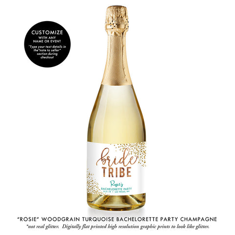 """Rosie"" Woodgrain Turquoise Bride Tribe Bachelorette Party Champagne Labels"