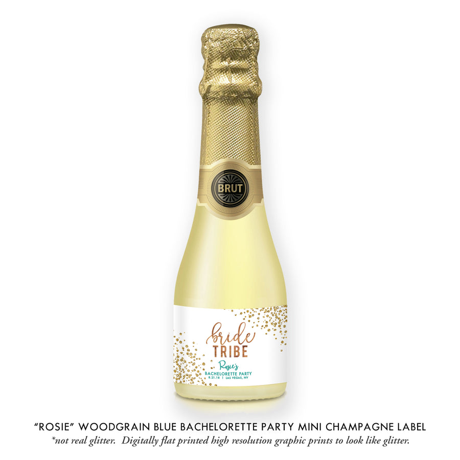 """Rosie"" Woodgrain Turquoise Bachelorette Party Champagne Labels"