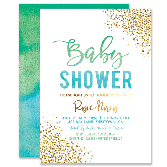 """Rosie"" Green Blue Ombre Baby Shower Invitation"