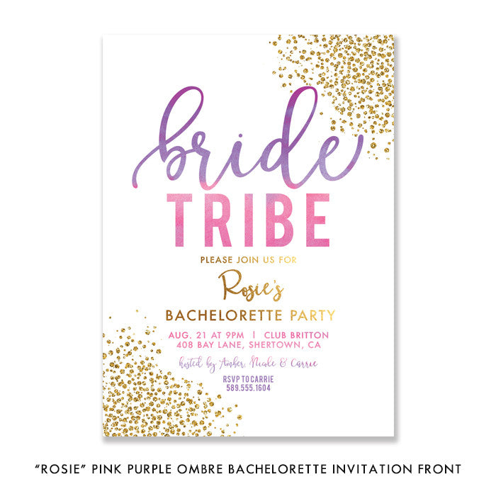 """Rosie"" Pink Purple Ombre Bride Tribe Bachelorette Invitation"