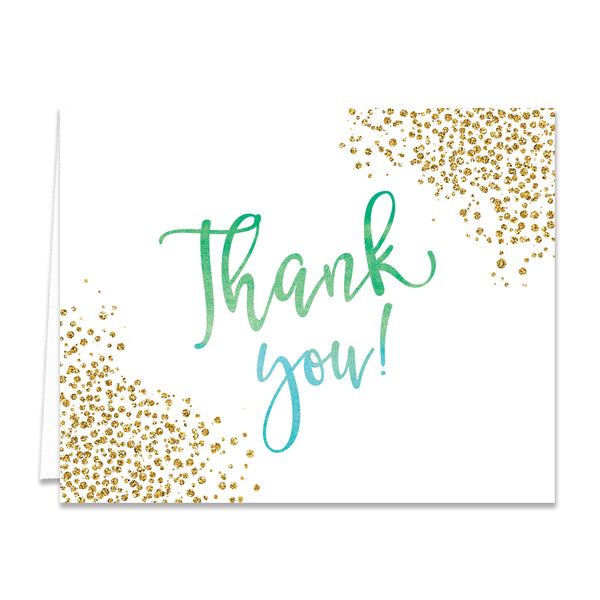 """Rosie"" Green Blue Ombre Thank You Card"
