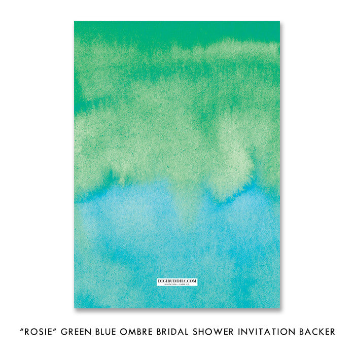 """Rosie"" Green Blue Ombre Bridal Shower Invitation"