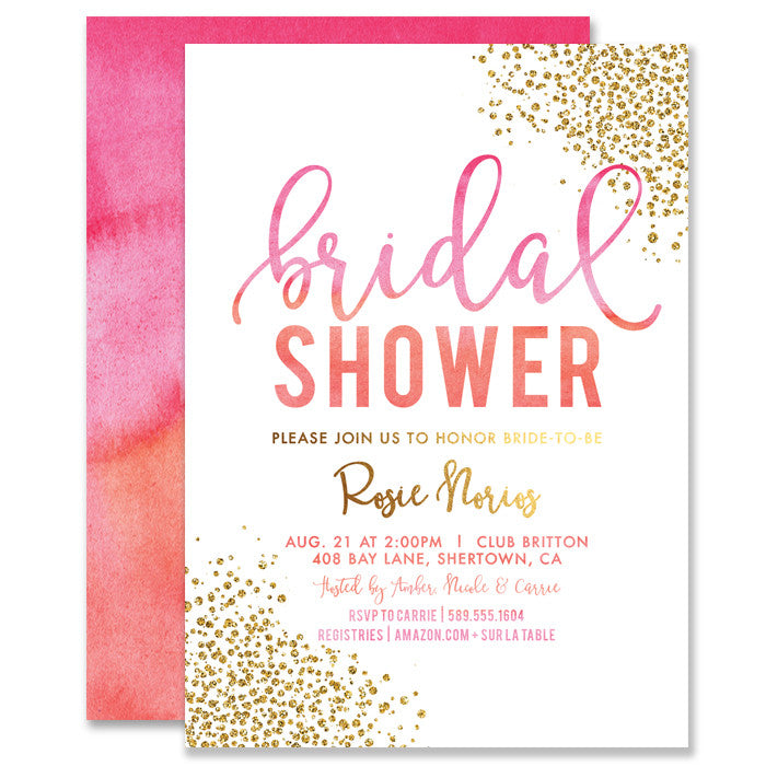 """Rosie"" Pink Orange Ombre Bridal Shower Invitation"