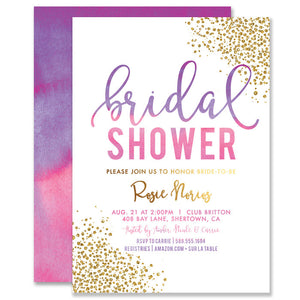"""Rosie"" Pink Purple Ombre Bridal Shower Invitation"