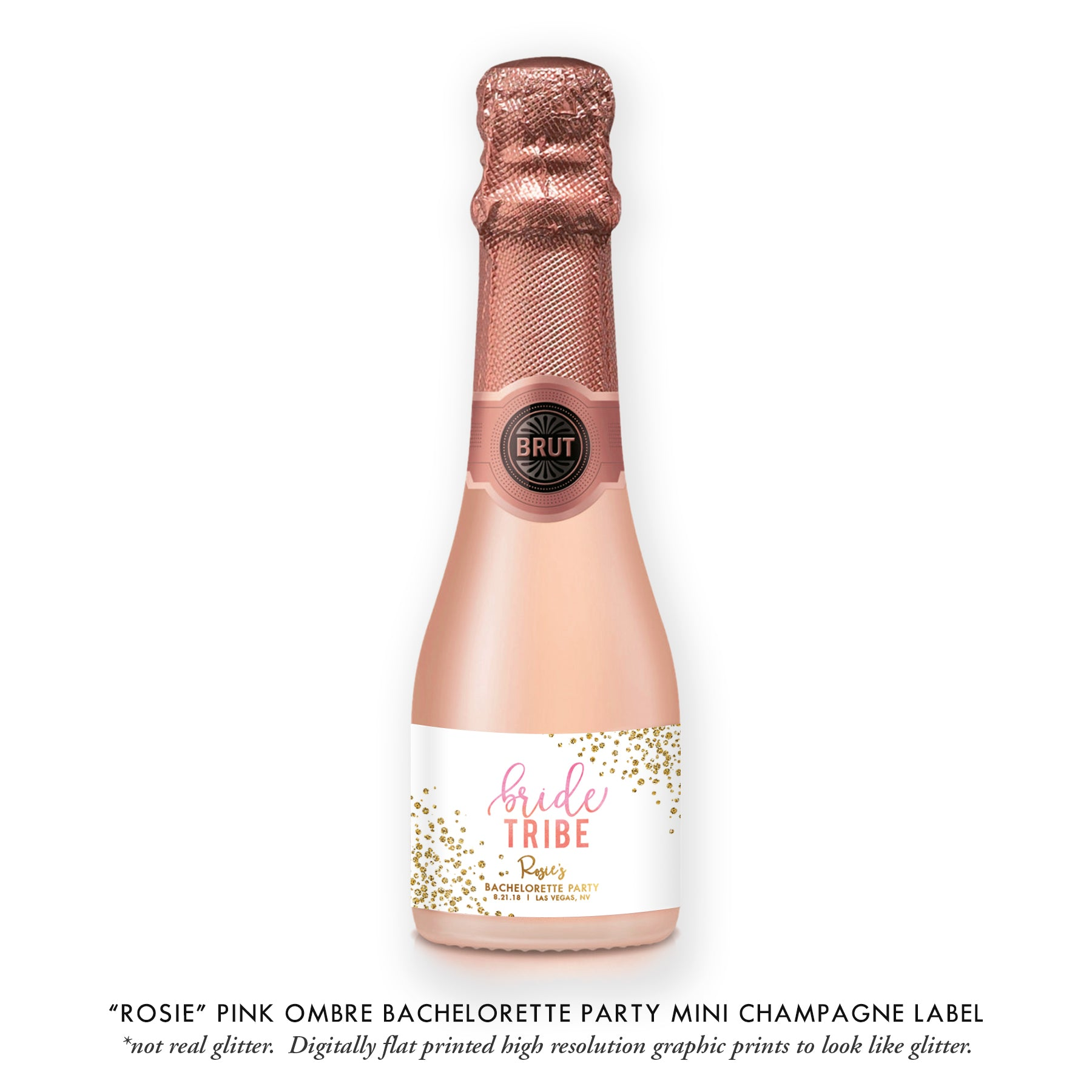 """Rosie"" Pink Ombre Bachelorette Party Champagne Labels"