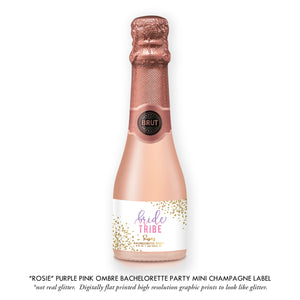 """Rosie"" Purple Pink Ombre Bachelorette Party Champagne Labels"
