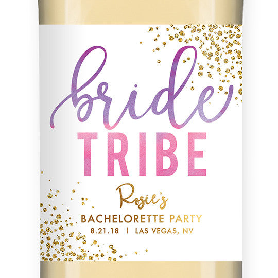 """Rosie"" Purple Pink Ombre Bride Tribe Bachelorette Party Wine Labels"
