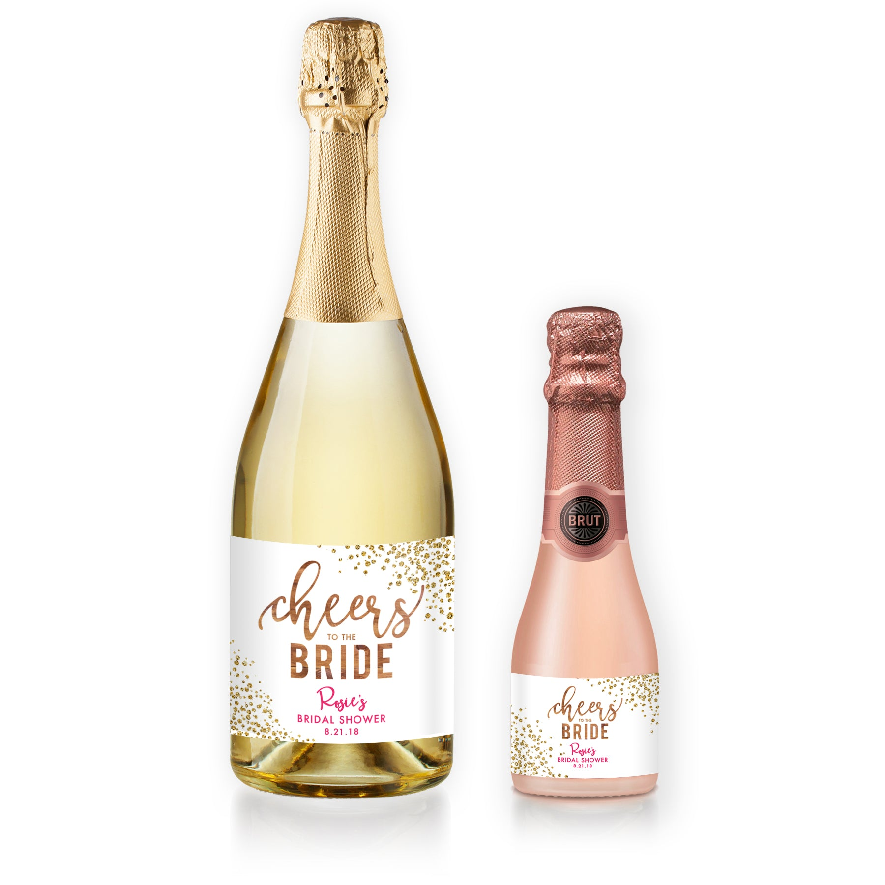 rosie woodgrain pink bridal shower champagne labels