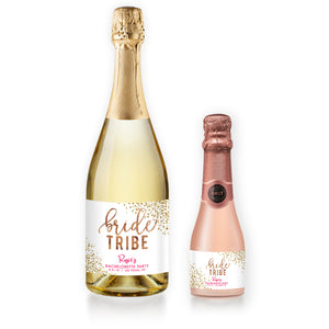 """Rosie"" Woodgrain Pink Bachelorette Party Champagne Labels"