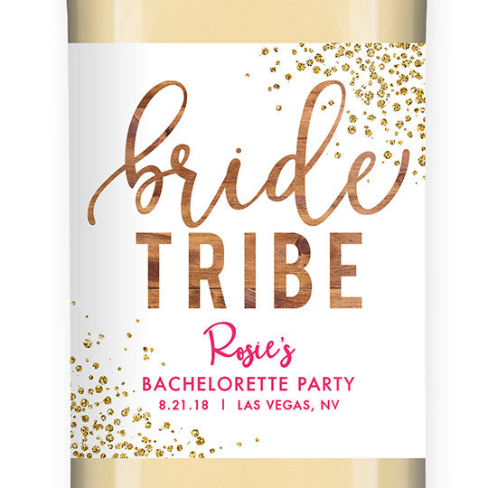 """Rosie"" Woodgrain Pink Bride Tribe Bachelorette Party Wine Labels"