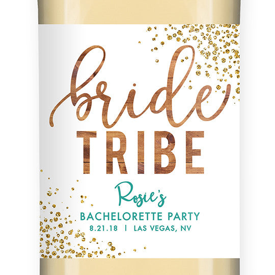 """Rosie"" Woodgrain Turquoise Bride Tribe Bachelorette Party Wine Labels"