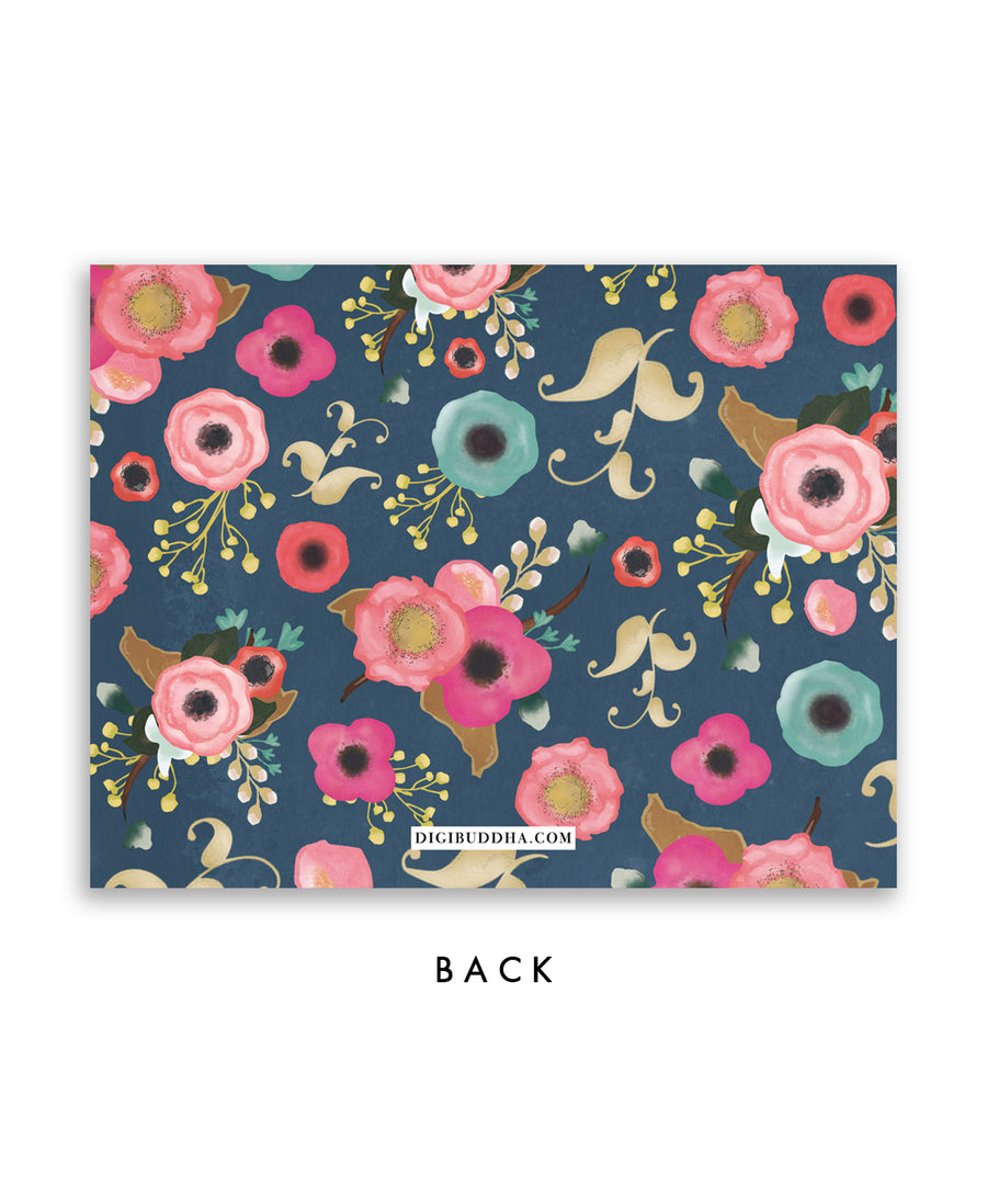 Navy Floral Personalized Stationery Coll. 19