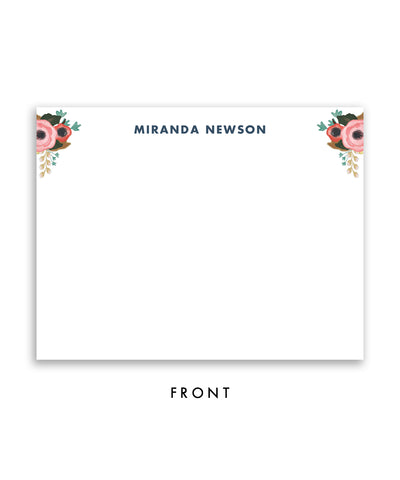 Navy Floral Personalized Stationery
