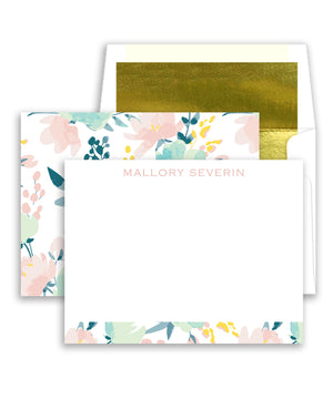 Pink & Mint Floral Personalized Stationery