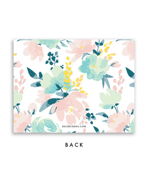 Pink & Mint Floral Personalized Stationery Coll. 24