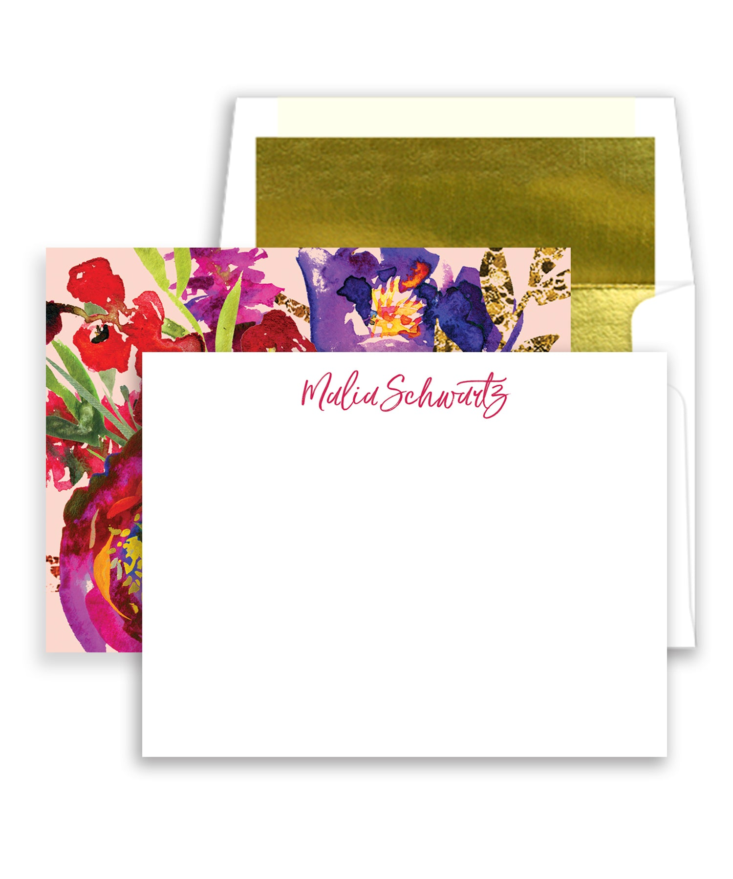Bold Watercolor Floral Personalized Stationery