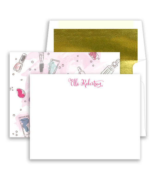 Pink Makeup Personalized Stationery Coll. 29